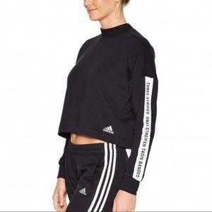 Adidas Sport Black Cropped ID Sweatshirt 3 Stripes